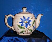 Vintage  1940's Shawnee Pottery Handpainted Blue Flower Teapot Gold Trim