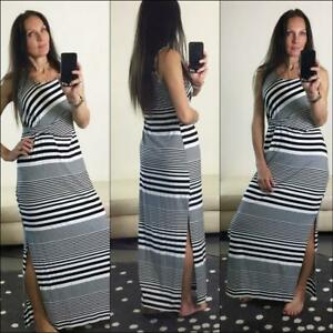 NWT FREEZ BLACK WHITE STRIPE MAXI DRESS 12 SIDE SPLITS long summer DRAPE stretch