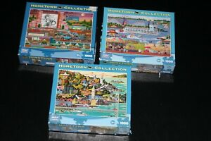 Lot of 3 Hometown Collection Heronim 1000 Piece Puzzles