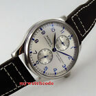 43mm parnis silver dial power reserve seagull automatic movement mens watch P99B