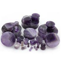 "PAIR-Stone Amethyst Double Flare Ear Plugs 20mm/13/16"" Gauge Body Jewelry"