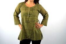 Blusa camisa SOFT bordada con botones color verde ropa hippie 100% algodon