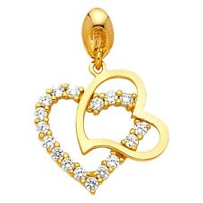 Heart Charm Love Fancy 14 x 14 mm Cz Two Hearts Pendant Solid 14k Yellow Gold