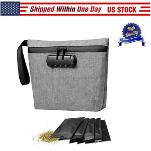 Smell Proof Bag Odorless Stash Pouch for Herbs Six Blocking Smell Layers Cont