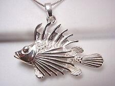 Lion Fish Pendant 925 Sterling Silver Corona Sun Jewelry ocean sea beach