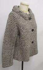 RENA LANGE Brown & Cream Knit Sweater/Jacket w/ Decorative Collar - NWOT - XL