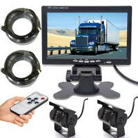 """7"""" Mirror Monitor HD 4PIN 2 Reversing CCD Camera Kit Car Truck Caravan Motorhome"""