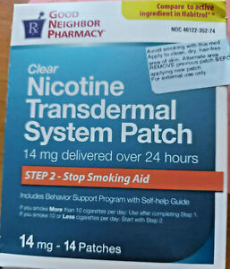 Clear 14 mg Nicotine Transdermal System Patch 14Count tExp 09/23 Free Shipping