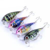 Fishing Lures Kinds Of Minnow Fish Bass Tackle Hooks Baits Crankbait Lot 4Pcs