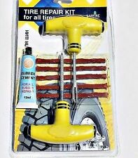Tubeless Tire Tyre Puncture Repair Van Motorcycle Bike Tool + 5 Strings Kit Car