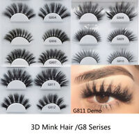 SK 5 Pairs 3D Mink Hair False Eyelashes Handmade Wispy Cross Long Lashes Makeup