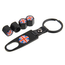 Car Keychain Tire Valve Stem Caps Tube Valve Covers Union Jack Logo Black jB264