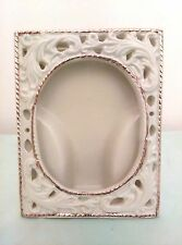 """Gold Trimmed Victorian Lace Picture Frame Small 3"""" X 4"""" Free Standing"""