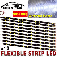10X 30CM 12V Pure White 6000K Motor Truck Flexible LED Strip Light Waterproof US