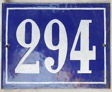 Large old French house number 294 door gate plate plaque enamel steel metal sign