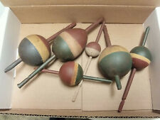 6 Mixed Lot Vintage Red White & Blue Wood Painted Antique Fishing Bobbers