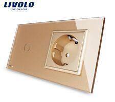 2 Fach Kombi: 1x Touch Lichtschalter + 1x Steckdose Livolo Gold Kristall Glas
