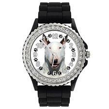 English Bull Terrier Dog Crystal Rhinestone Mens Ladies Silicone Watch SG184P