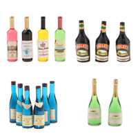 Handcrafted 4 Pieces Dollhouse Miniature Wine Bottles Champagne Drink Bottles