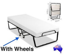 Portable Folding Single Bed w/ Mattress wheels Camping Guest Metal Fold up 150kg