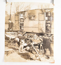 1940's Fireman Photo Philadelphia 11 x 13 1/4 Mobile Home Camper Fire V39
