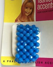 Vintage Hair Barrettes -  Blue Beaded Ponytail Holder with snap button closure