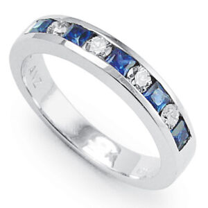 950 Platinum Diamond Sapphire Band Ring Stamped PLAT #R1548