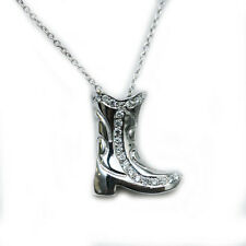 ROBERTO COIN NEW 18K White Gold Diamond Cowboy Boot Pendant Necklace
