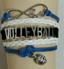 VOLLEYBALL LEATHER CHARM BRACELET - BLUE/WHITE/BLACK ADJUSTABLE -SPORTS #180