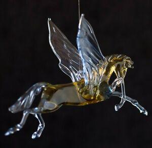 Clear Yellow Pegas Figurine Blown Glass Art Animal Horse Ornament