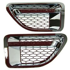 "Chrome ""SUPERCHARGED"" SIDE wing VENTS for Range Rover Sport 2005-09 wing"
