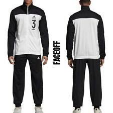 Bloque de color para hombre Adidas Atlético Chándal Negro/Blanco Regular Fit