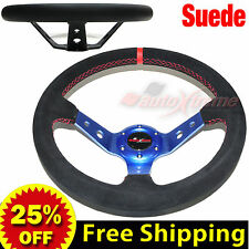 "JDM 350mm 14"" SUEDE LEATHER DEEP DISH Racing Steering Wheel RED Stitches BLUE"