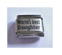 9mm Italian Charm L44 Worlds  World's Best Daughter Fits Classic Size Bracelet