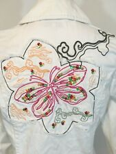 Wonder Woman Jacket White Multicolor Embroidered Butterfly Sz 40 Long Sleeve