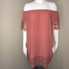 Iris Women's Large Dress Off The Shoulder Lace Hem & Sleeves Coral Pink Preowned