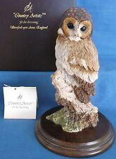 COUNTRY ARTISTS TAWNY OWL BIRD OF PREY FIGURINE WILDLIFE BOX LABEL MADE ENGLAND