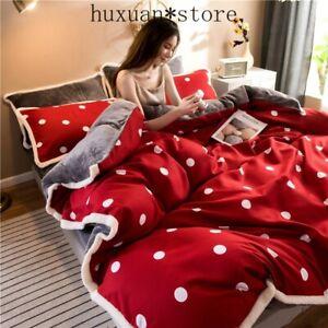 AB Side Winter Bedding Set 4pcs Flannel Fleece Flat Sheet Duvet Cover Cotton Set