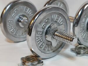 WEIDER Chrome Dumbbell Set - 2 Barbell Bars w/ 6 Screw Collars + 4 ea 5lb Plates