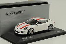 2016 Porsche 911R 911 R 991 Weiss / rote Streifen 1:43 Minichamps Diecast