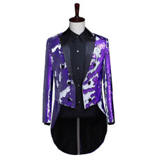 Mens Sequin Tailcoat Suit Jacket Tuxedo Dance Troupe Showman Fancy Dress