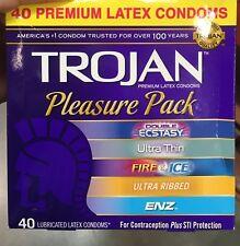 Trojan Premium Latex Condoms Pleasure Pack 40 Count- Free Shipping