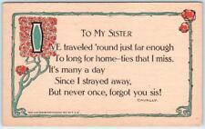 "ARTS & CRAFTS  ""To My Sister"" Verse  Cavally   1911  F.J.H.    Postcard"