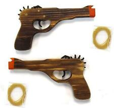 2 WOODEN ANTIQUE 45 MAG GUN ELASTIC RUBBER BAND SHOOTER boys toy army military