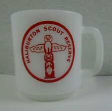Haliburton Scout Reserve Totem White Milk Glass Mug Vintage