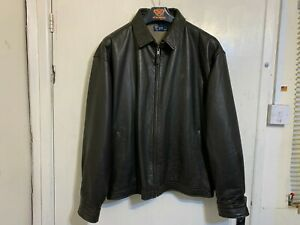 VINTAGE POLO RALPH LAUREN LEATHER HARRINGTON JACKET SIZE 3XL