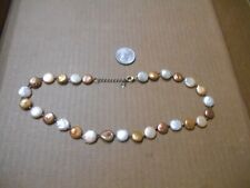 """Pearl Necklace Sterling Silver 20� """"Luc� Lucas Lameth Knotted Genuine Disc"""