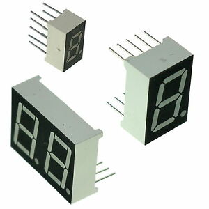 """7 segment LED Display Single / Double Digit 0.3"""" / 0.56"""" Common Anode or Cathode"""