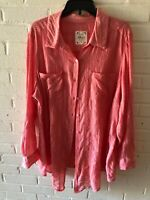 New Style & Co Woman's Sheer Button Down Blouse Top  Rose Blossom  Plus Size  L5