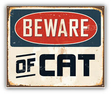Beware Of Cat Vintage Metal Sign Car Bumper Sticker Decal 5'' x 4''